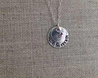 Snail Slow and Steady Hand Stamped Sterling Silver Necklace