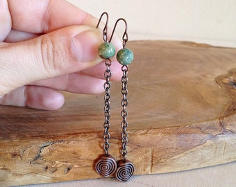 Spinning Earth. Copper Spirals and Moss Agate Dangle Boho Earrings