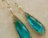 Long Teardrop Blue Gem Earrings with jewel bezel drop pendant Elegant Chic Jewelry