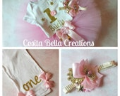Twinkle Twinkle Little Star Baby Girl 1st Birthday Tutu Outfit,Pink and Gold first birthday outfit,pink birthday tutu outfit,cake smash tutu