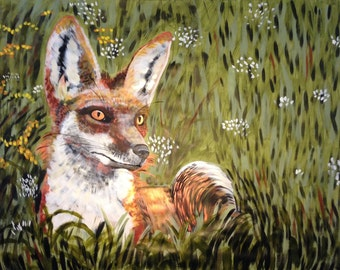 Large scale painting of fox in meadow by Natalie Wright