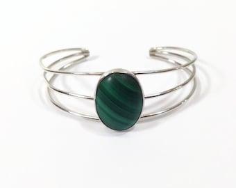 Vintage Sterling Silver Malachite Wire Cuff Bracelet