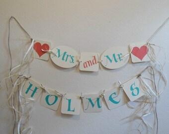 Wedding Banner - Mr & Mrs Banner - Bridal Shower Banner