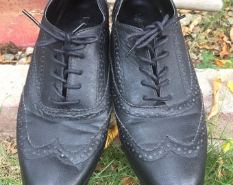 black oxford vintage style shoes womens size 9