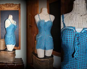 Vintage doll 50s 40s bathing suit beach pinup 12 34 tagged sunsuit playsuit