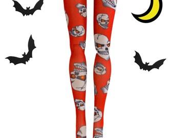 Barbie Doll - Orange Scary Skull - Stockings - Leggings - Doll Clothes