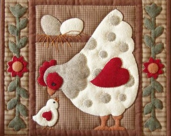 Spotty Hen and Chick Wallhanging Quilt Complete Kit Rachel's of Greenfield