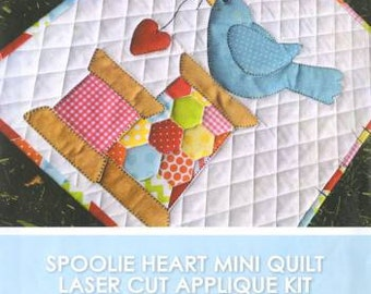 DIY Thread Spoolie Heart Quilt Kit Laser Cut Applique Mini Quilt Stitches of Love