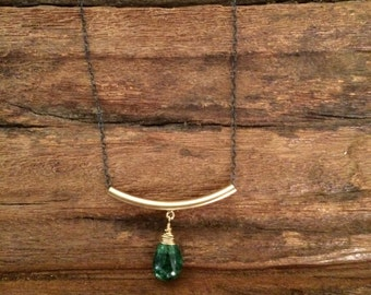 Emerald Green Gemstone Necklace, Simple Gold Bar Green Drop Necklace, May Birthstone Jewelry