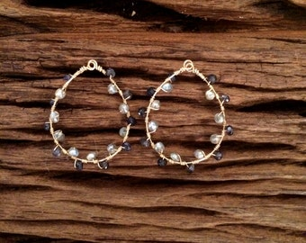 Iolite Mystic Labradorite Hoops, Blue Grey Wire Wrapped Gold Gemstone Earrings