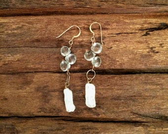 Green Amethyst Pearl Drop Earrings, Long Green White Gemstone Earrings, Birthstone Jewelry