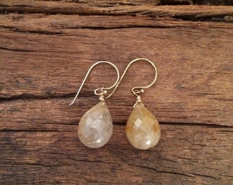 Rutilated Quartz Gemstone Simple Earrings, Gold Wire Wrapped Earrings