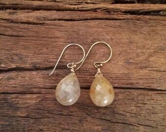 Rutilated Quartz Gemstone Simple Earrings, Gold Wire Wrapped Earrings