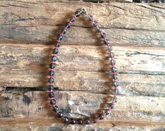 Smokey Quartz Necklace, Beaded Brown Pink Gemstone Necklace