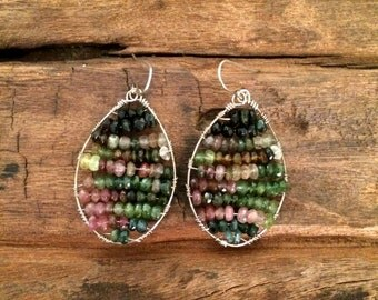 Tourmaline Beaded Hoops, Multi Colored Gemstone Wire Wrapped Earrings, October Birthstone