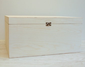 Large Wooden Box for DIY Projects/ Unfinished Wooden Box 16 x 12 x 8  inch (other dimensions available)