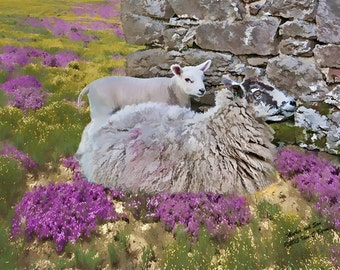 farmyard art,  mother and lamb, farm animals, farm art, farmhouse decor, animal art, farm decor, sheep picture, sheep print, country print