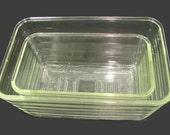 2 Glasbake W Clear Ribbed Loaf Pans, Huge Glass Bread Pan, Baking Dish Set, Vintage Casserole, Refrigerator Dish