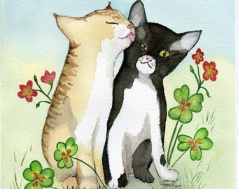 Kitten Sisters 5x7 art print