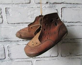 Leather Baby Shoes Vintage Little Shoes Cottage Chic Decor