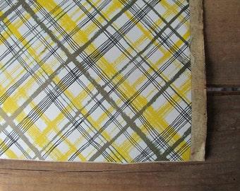 Vintage Contact Adhesive Paper Yellow Plaid Con-Tact Retro Kitchen Decor