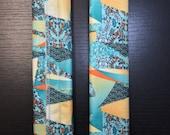 SALE! 3 Sets (6) Fridge Handle Covers, Teal, Asian Abstract Print, Nylon Fabric