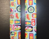 "SALE! 3 SETS (6) Fridge Handle Covers, ""Happy Day"" Print, Nylon Fabric"