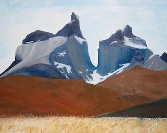 Los Cuernos del Paine Fine Art Greetings Card from Original handmade Oil Painting