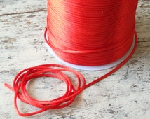 Satin rattail cord in Chinese lantern red - TEN yards, 2mm satin cord for macrame, jewelry, decorations, red satin rattail cord, red cord