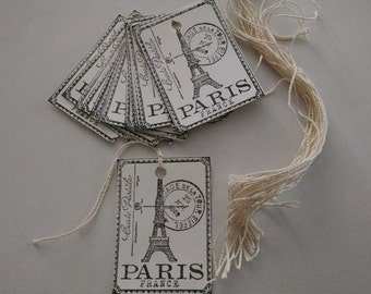 24 black ink Paris price tags, gift tags or embellishments