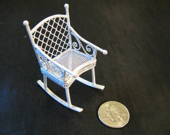 Dollhouse rocking chair, miniature rocker doll house, Baby's Room Patio furniture