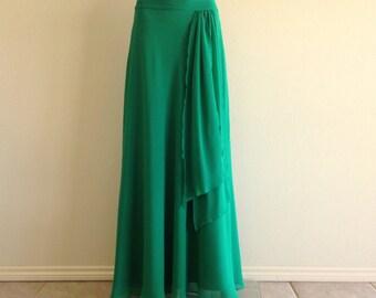 Green Maxi Skirt. Floor Length Skirt. Bridesmaid Skirt