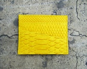 NEON - Yellow Canary Card Holder Python Snakeskin Leather