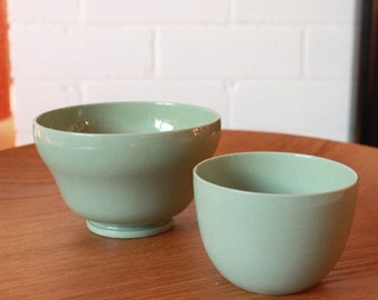 Wedgwood Celadon Bowls and Glass Candle Holder