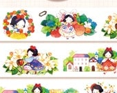 1 Roll of Limited Edition Designer Illustration Washi tape- Snow White