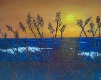 Sea Grass Sunset Greeting Card