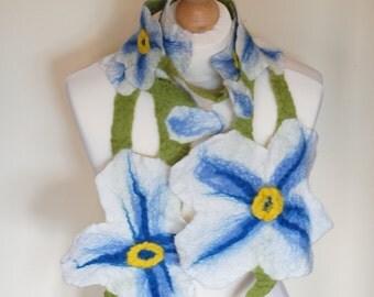 Felt scarf, felted flower scarf, handmade collar, flower shape shawl, wedding ornament, bridal flower necklace, woman's scarf, floral scarf