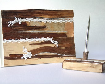 Rustic Wedding Guest book with pen holder, Wood and birch bark wedding guestbook, Lace guestbook, Farmhouse guestbook, Unlined guestbook