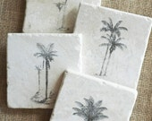 Palm Tree- Coaster, Beach Decor, Beach Gift, Palm Tree Gift, Palm Tree Decor, Shabby Chic Beach, Ocean Decor, Coastal Decor, Beach Tile