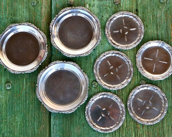 Silver plated coasters, set of eight