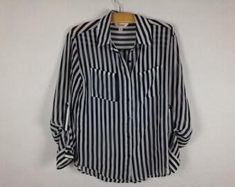 striped sheer shirt size M