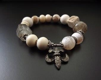 Diamond beaded bracelet tribal safari style gemstone bracelet stretch boho bracelet fleur de lis diamond charm fall stacking bracelet