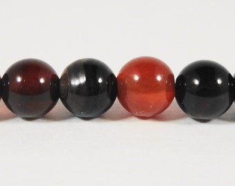 "Agate Gemstone Beads 6mm Round Smooth Natural Black and Brown Agate Stone Beads for Jewelry Making on a 7 1/4"" Strand with 31 Beads"