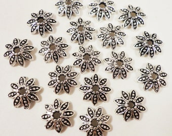Silver Bead Caps 8mm Antique Tibetan Silver Metal Daisy Flower Bead Caps, End Caps, Silver Beadcaps, Jewelry Making Findings 50pcs
