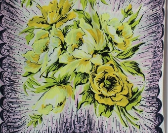 Big Yellow Flower Scarf with Purple Abstract Scallop design Pale Pink and Black could be worn as a top Durable Rayon Silk Blend Large