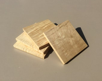Curly Maple Wood Coaster Set of 4 - Free shipping in US