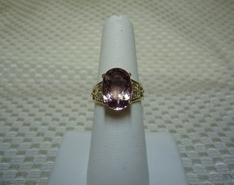 Oval Cut Ametrine Ring in Solid 10K Yellow Gold