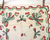 Vintage RockaBilly Swing Pure Irish Linen Collectable Tea Towel - Vintage Gift Idea - Cherries Bows, Dish Cloth - UnUsed