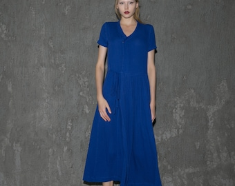 Cobalt Blue Linen Dress - Elegant Loose-Fitting Versatile Party Dress or Everyday Dress with Asymmetrical Front and Waist Tie C649