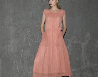 Elegant Pink Long Dress Women Dress C648